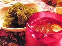 海ぶどう&赤い琉球ガラスのグラス